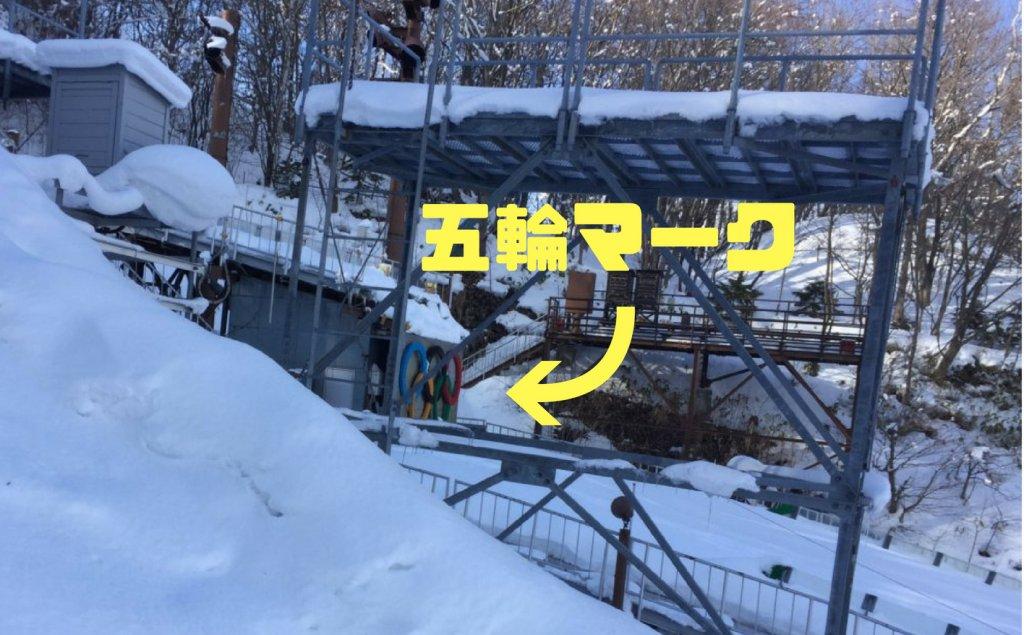 大倉山ジャンプ競技場のジャンプ台の中腹にある五輪マーク