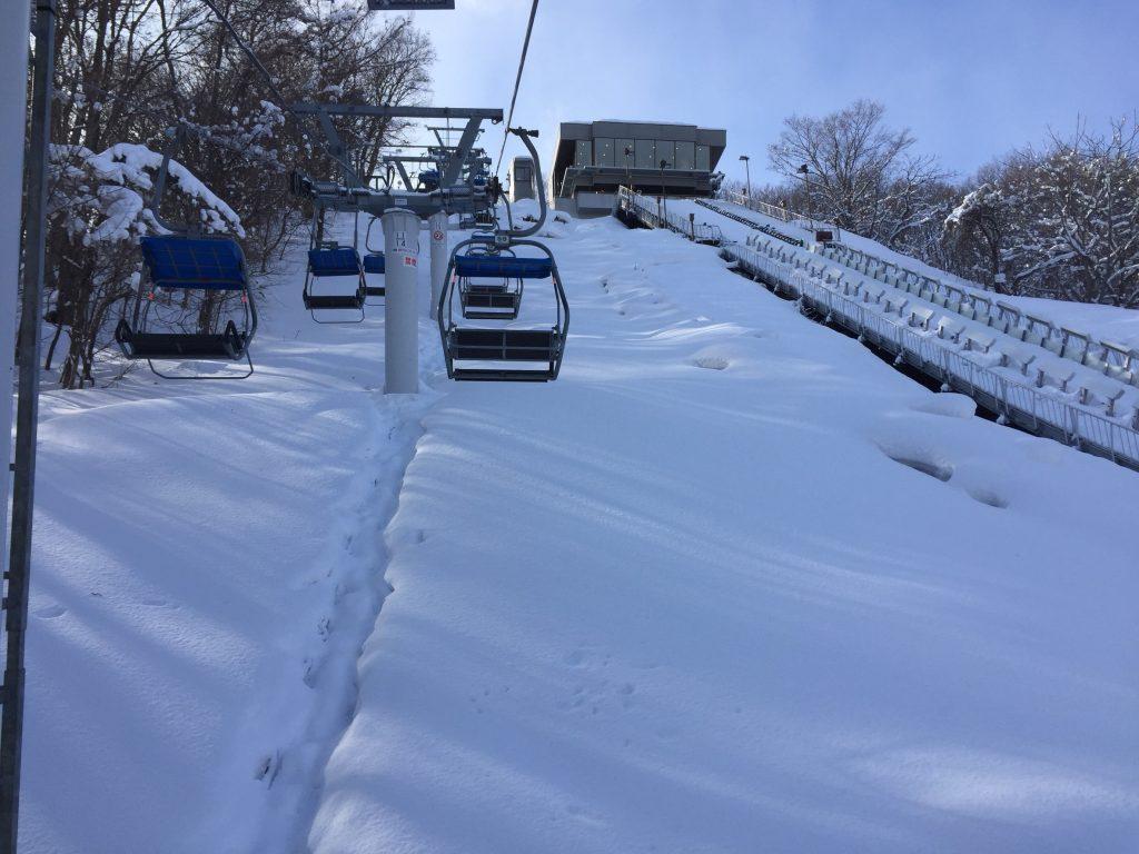 大倉山ジャンプ競技場のリフトからの景色