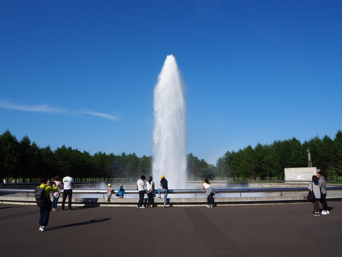 噴水が噴き出てるところ