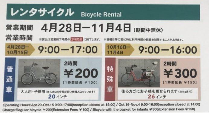 レンタサイクルの価格表