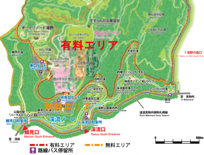 滝野公園のエリアマップ