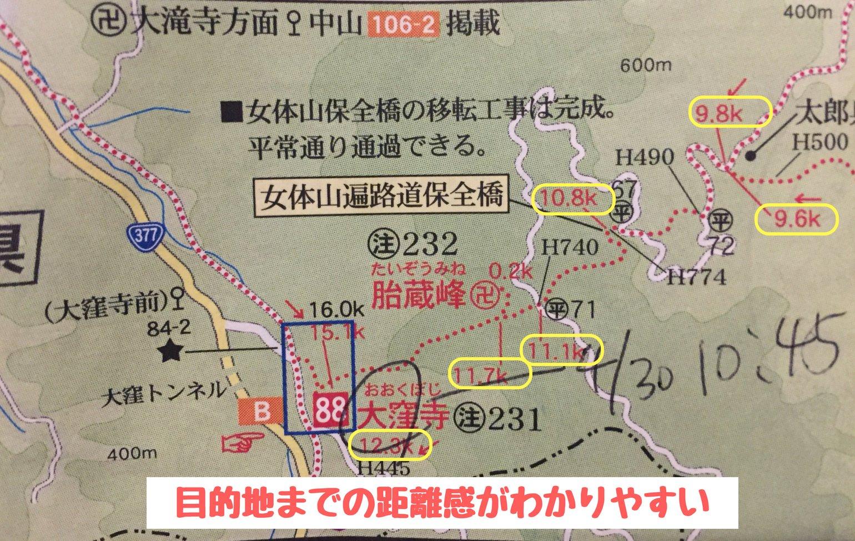 地図「四国遍路ひとり歩き同行二人」に記載されている距離の様子