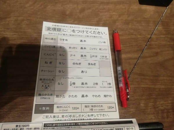 ラーメン屋「一蘭」の注文用紙