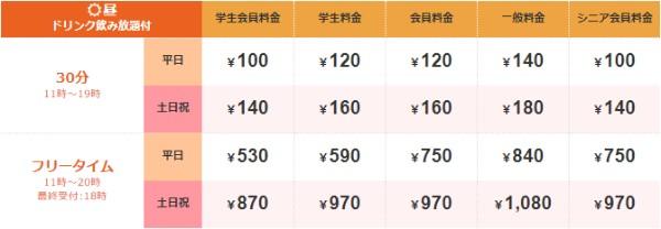 ジャンカラ札幌駅前店料金表