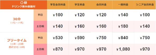 ジャンカラ札幌駅前店の料金表