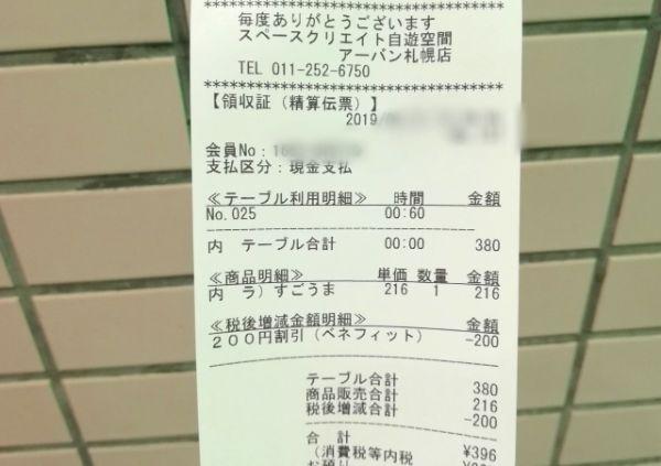 自遊空間で100円ランチを食べた時のレシート