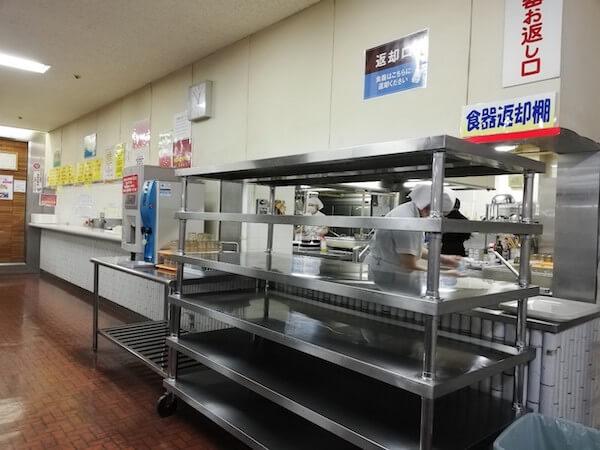 札幌交通局の社員食堂の食器返却口